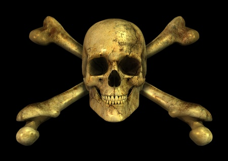 skull and crossbones: 3D render of a grungy skull and crossbones.