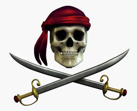 calavera pirata: Cr�neo pirata - 3D render
