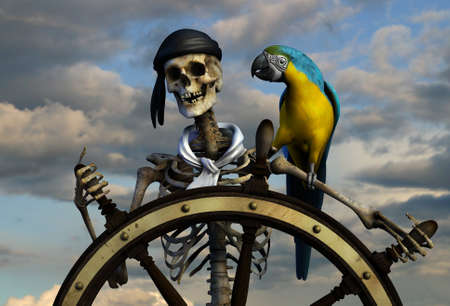 buccaneer: 3D render of a skeleton pirate. The background is from one of my sky photos.