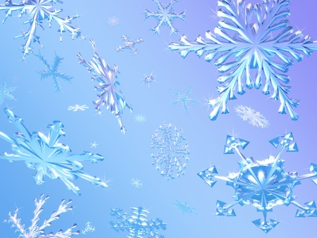 Snowflakes Falling - 3D render photo