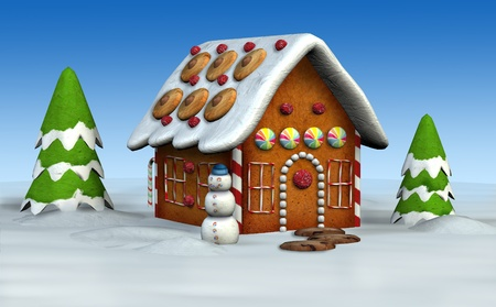 Gingerbread House - 3D render photo