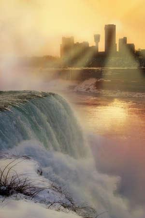 niagara falls: Niagara Falls at sunset in winter - photo with digital painting.