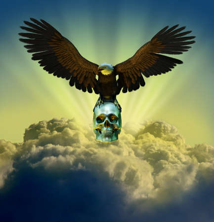 3D render of a bald eagle perched on a human skull - the sky is a digitally manipulated photo. photo