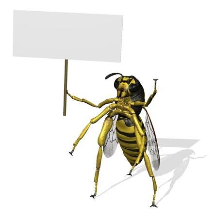 avispa: 3D render de una avispa gigante con un cartel en blanco.