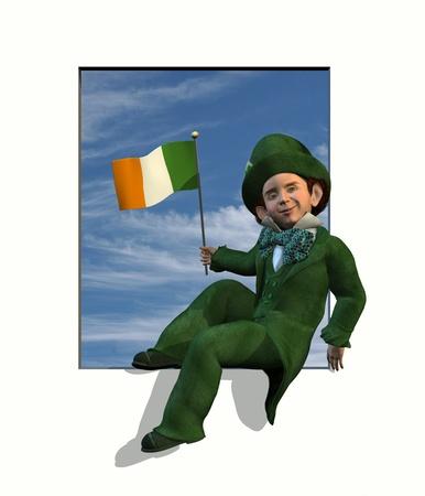 3D render of a leprechaun sitting in a window frame, holding an irish flag. photo