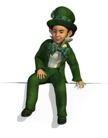 elves: 3D render of a Leprechaun sitting on an edge.