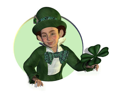 3D render of a leprechaun leaning through a circle, holding a shamrock. photo