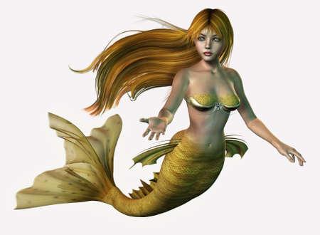 beautiful mermaid: Gold Mermaid - 3D render of a mermaid with long, flowing hair.