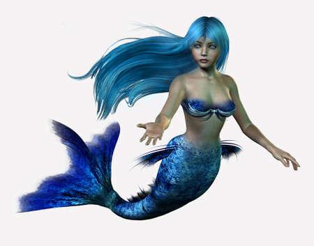 3D render of a mermaid with long, flowing blue hair.