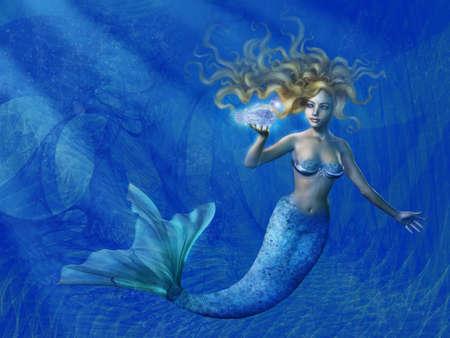 beautiful mermaid: Deep Sea Mermaid - combines 3D render, fractals, and digital painting.