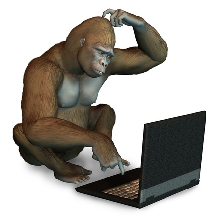 use computer: Gorilla trying to figure out how to use a laptop computer - 3D render Stock Photo