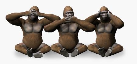 See, Speak, Hear No Evil Gorillas - 3D render photo