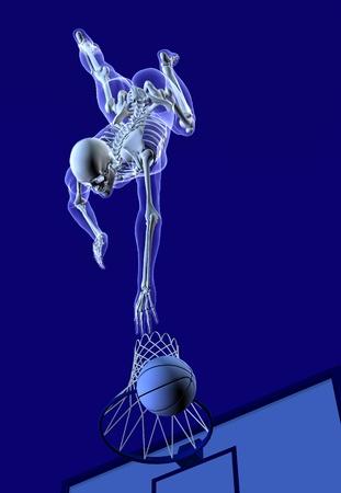 hombre disparando: 3D render de un hombre de rayos X disparar una canasta, vista desde arriba.