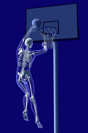3D render of an x-ray man shooting a basket. photo