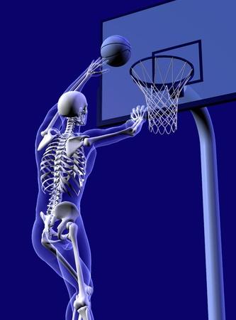 sports medicine: 3D render of an x-ray man shooting a basket, close-crop.