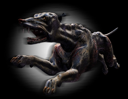 hounds: 3D render of a desperate hound fleeing from the depths of Hell. Stock Photo