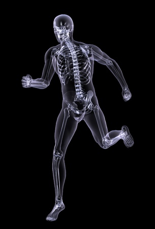 radiation therapy: 3D render simulating an Xray image of a man running.