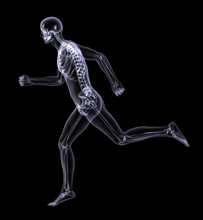 x rays: 3D render simulating an Xray image of a man running - side view. Stock Photo