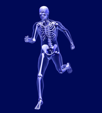 3D render simulating an Xray image of a man running. photo