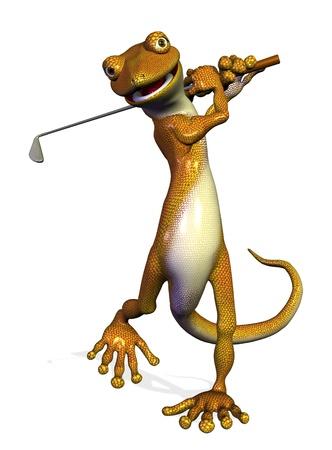 lagartija: Gecko Golf - 3D render