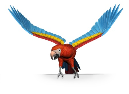 scarlet: 3D render of a scarlet macaw perched on the edge of a frame or blank sign.