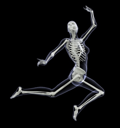 Skeleton in Motion - Woman Leaping - 3D render - Side View photo