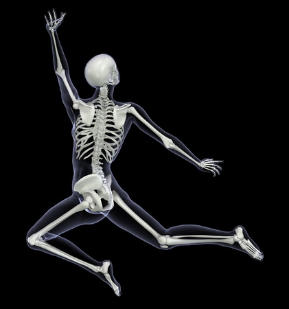 Skeleton in Motion - Woman Leaping - 3D render - Back View photo