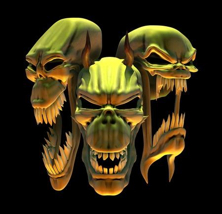 Laughing Demon Skulls - 3D render Stock Photo - 11563061