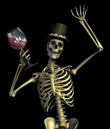 Fun loving party skeleton - on black - 3D render