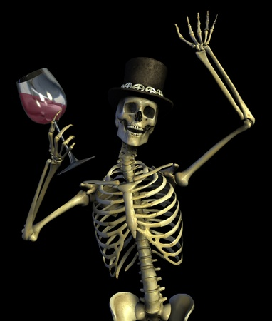 Fun loving party skeleton - on black - 3D render