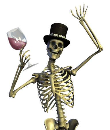 Fun loving party skeleton - on white - 3D render photo