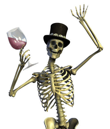 ironic: Fun loving party skeleton - on white - 3D render