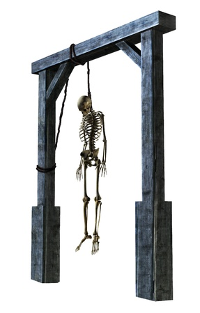 gruesome: 3D render of a skeleton hanging from a noose - on white. Stock Photo