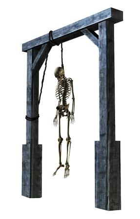 ahorcado: 3D rinden de un esqueleto colgando de una soga - en blanco.