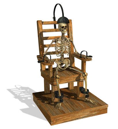 penalty: Electric chair with skeleton - 3D render