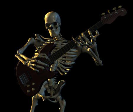 death metal: Skeleton playing guitar - 3D render Stock Photo