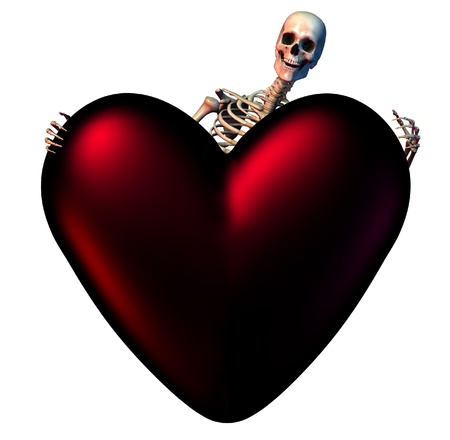 Skeleton with a Dark Heart - 3D render. photo