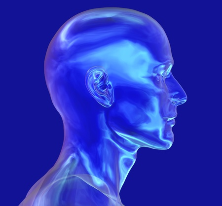 render: 3D render of a glass head - male