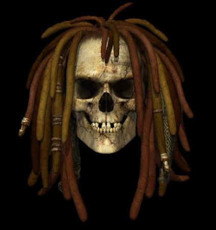 3d weird: Grunge Skull with Dreadlocks - 3D render