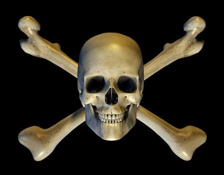 huesos humanos: Calavera y tibias cruzadas - 3D render Foto de archivo