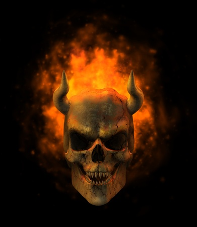 Flaming Demon Skull - 3D render photo