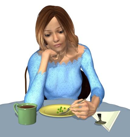 desorden: Anorexia - Una comida Tiny - Una mujer de peso inferior al normal ingiere una comida muy pequeña, porque tiene miedo de subir de peso. 3D render Foto de archivo