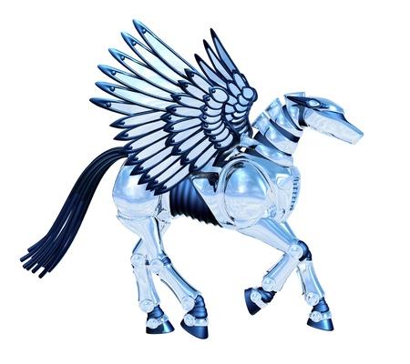 pegaso: Chrome Pegasus - 3D render Foto de archivo