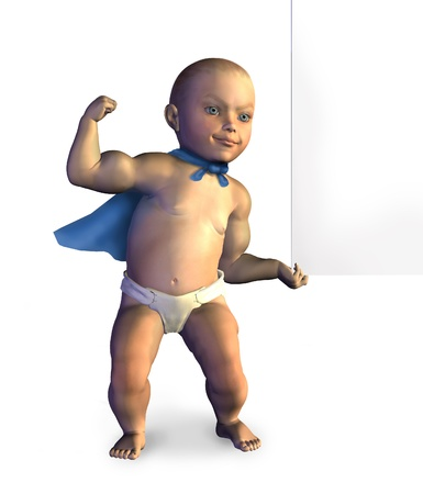 3D render of a super baby lifting the edge of a blank sign. photo