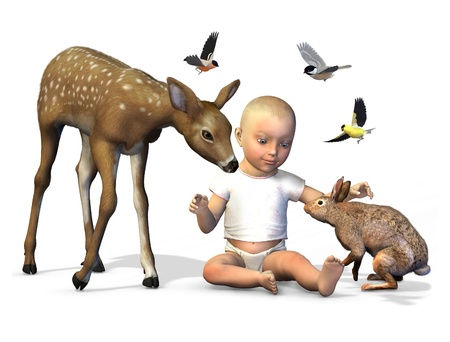 3D render of a baby with a fawn, rabbit and birds. photo