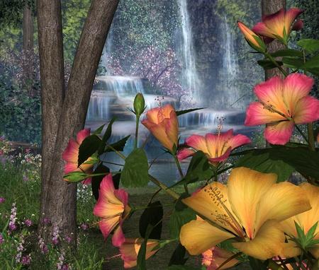 3d flower: Hibiscus Flowers with Waterfalls - 3D render