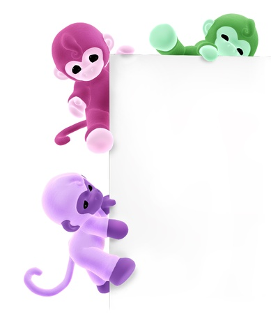 3D render of three colorful plush monkeys climbing along the edge of a blank sign photo
