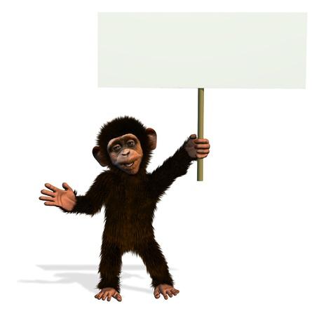 Cartoon Chimp Holding Blank Sign - 3D render photo