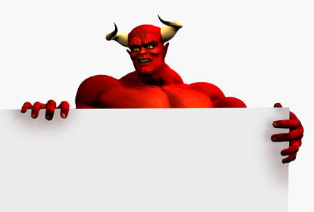 Devil with the edge of a blank sign. Stock Photo - 11711038