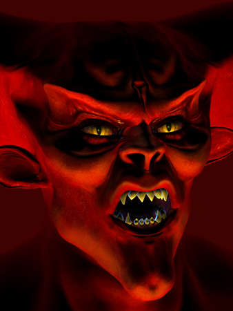 3d scary: Demon Portrait - 3D render Stock Photo